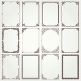 Decorative frames and borders A4 proportions set 4 - 76098947
