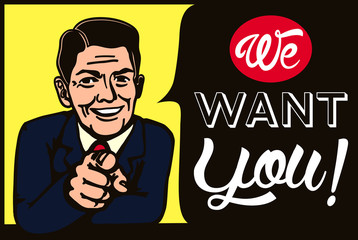 We want you! Vintage businessman picking candidate for job