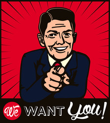 I want you! Retro businessman with pointing finger