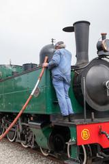 Plein d'eau sur locomotive à vapeur, 1909, en Baie de Somme
