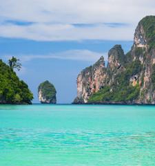 Blue Seascape Lagoon Mountains
