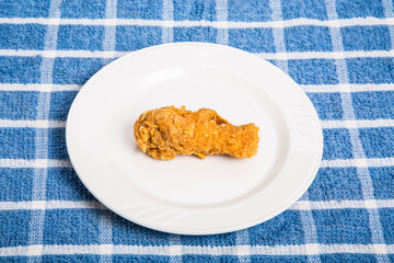 Fried Chicken Leg on White Plate
