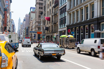 Soho street traffic in Manhattan New York City US