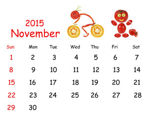 2015 Calendar. November. Little funny people from vegetables and