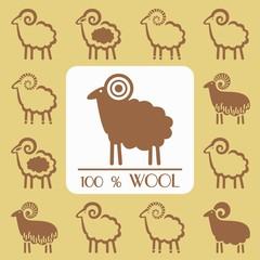 emblem set sheep silhouette for label design wool