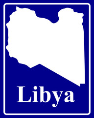 silhouette map of Libya
