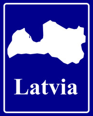 silhouette map of Latvia