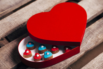 Tasty cookies in valentines heart shaped box