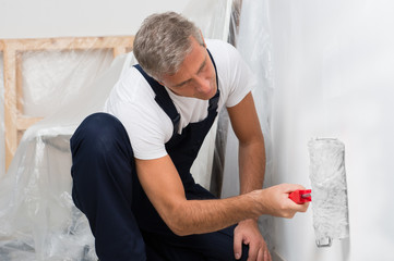 Painter Painting Wall With Roller