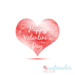 happy valentine's day red watercolor heart love isolated