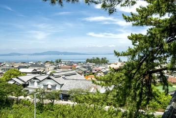 島原市街地と海