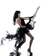canvas print picture - woman playing electric guitar player
