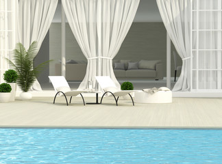 Terrace, flowers and chaise lounges