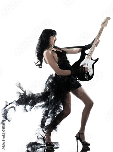 canvas print picture woman playing electric guitar player