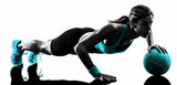 Fototapety woman fitness Medicine Ball exercises silhouette