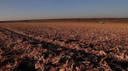completion of harvesting a corn field