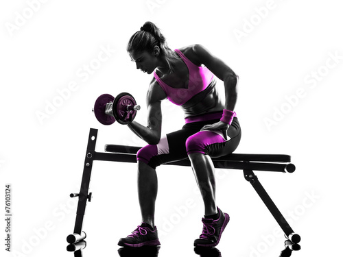 canvas print picture woman fitness  exercises  weights body building silhouette