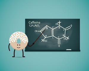 Donut teacher shows the chemical formula of caffeine on board-3