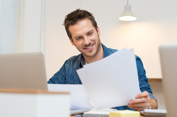 Businessman checking document