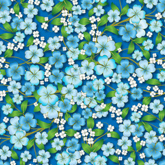 abstract floral ornament on blue
