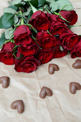 Dark Red Roses and Chocolate Hearts