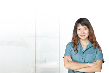 asian businesswomen has background of airport