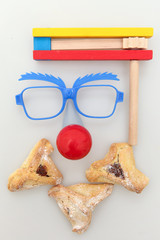 Purim arrangement - Hamantashen, Gragger,glasses and a red nose