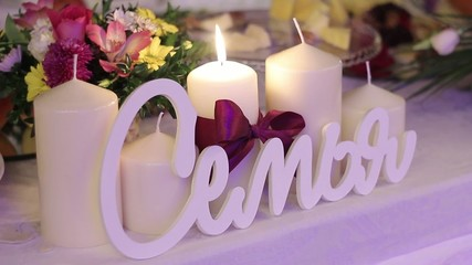Wedding candle on the table