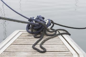 bollards on the dock closeup