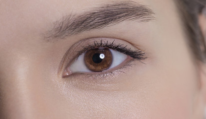 Eye of an attractive young adult woman