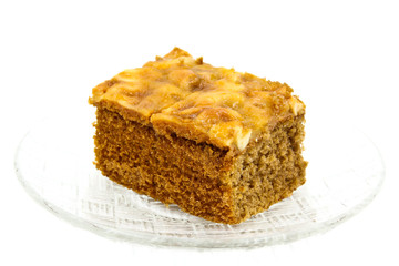Toffee cake isolated on white background
