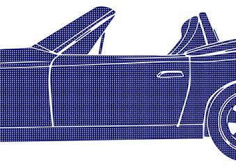 Gros plan pop art sur une voiture bleue