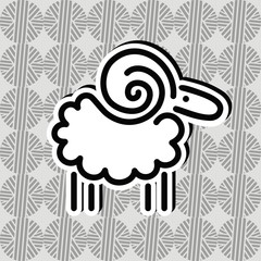 sheep for wool line emblem label design on the background of the