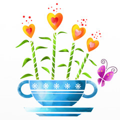 cup with flowers in heart