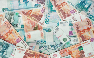 Rubles, Russian banknotes, money. Background