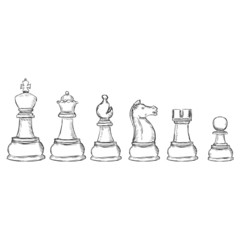 Vector Set of Sketch Chess Figures
