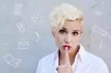 communiction break and blond Woman