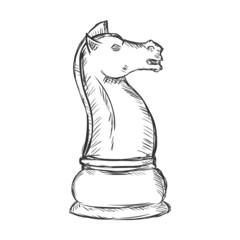 Vector Single Sketch Chess Figure - Knight