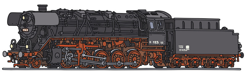 Classic steam locomotive, vector illustration