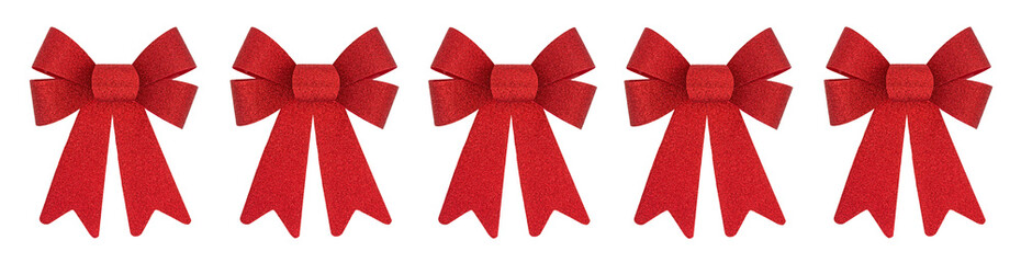 Row of red Christmas bows