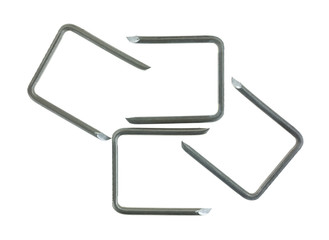 Cable staples for large electrical wiring on a white background