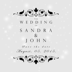 Wedding card or invitation with abstract floral background. Gree