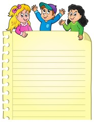 Part of blank page with happy kids
