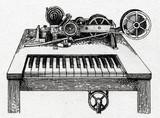 Hughes text printing telegraph, 1855 poster