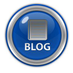 Blog circular icon on white background