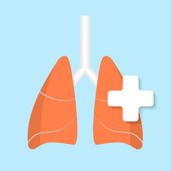 Vector flat lung icon.