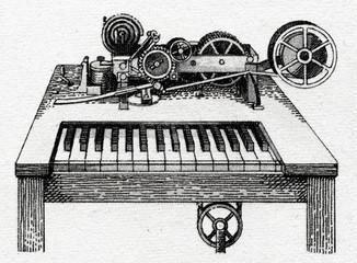 Hughes text printing telegraph, 1855