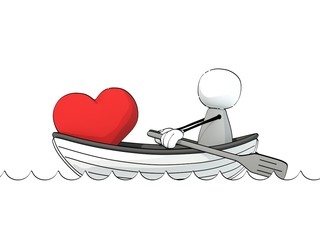little sketchy man in a rowboat with a big red heart