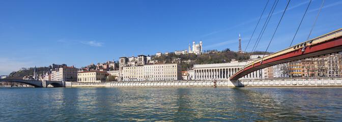 Panoramic view of Saone river at Lyon