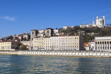 Honrizontal view of Lyon with Saone river
